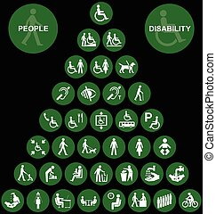Pyramid disability and people Icon - Green disability and...