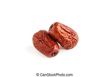 Dried jujube fruits isolated on white - Dried jujube fruit...