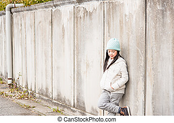 Asian child in winter
