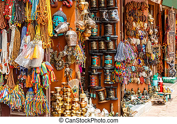 Nepalese souvenir shop - Close up photo of a souvenir shop...