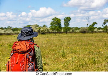Young trekker woman with rucksack - Photo of young trekker...