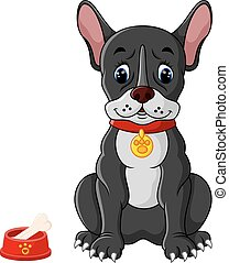 French bulldog sitting - illustration of French bulldog...
