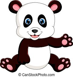 cute baby panda - illustration of cute baby panda