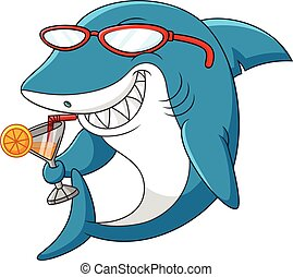 Cartoon shark - illustration of Cartoon shark drinking