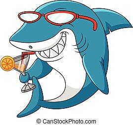 Cartoon shark - illustration of Cartoon shark drinking
