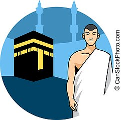 Man Hajj And Kaaba Background - Vector illustration of a man...