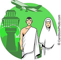 Hajj Couple And Airport Background - Vector illustration of...