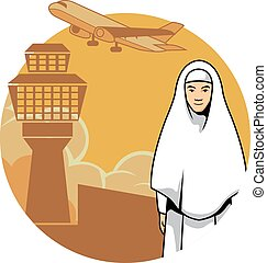 Women Hajj And Airport Background - Vector illustration of a...