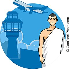 Man Hajj And Airport Background - Vector illustration of a...