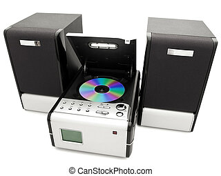 cd player - modern digital opened cd player against the...