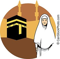 Women Hajj And Kaaba Background - Vector illustration of a...