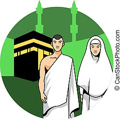 Hajj Couple And Kaaba Background - Vector illustration of a...