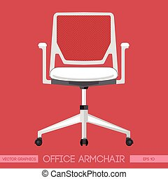White modern office armchair over r