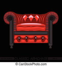 Red classic armchair over black background