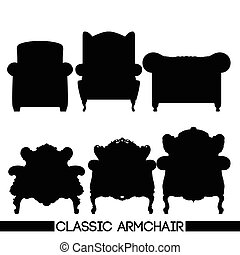 Black classic armchair set, in outl