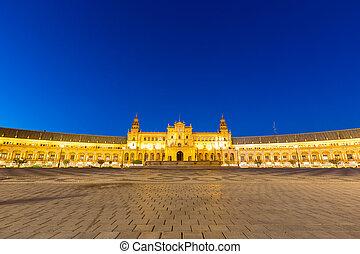 Facade of espana Plaza Seville - Facade of Spanish Square...