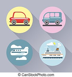 Auto icon set flat style. Car, bus,