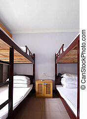 the interior of a 4 bed dorm - a classic 4 bed dorm room...