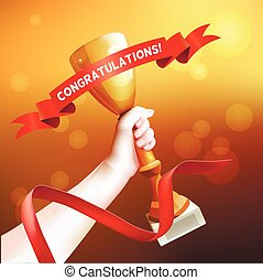 Hand Holding Up Trophy. Vector Winner Cup Illustration with Red Ribbon with Congratulations.
