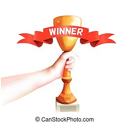 Hand Holding Up Trophy. Vector Winner Cup Illustration with Red Winner Ribbon. White Background
