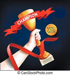 Hand Holding Up Trophy. Vector Winner Cup Illustration with Red Champion Ribbon.