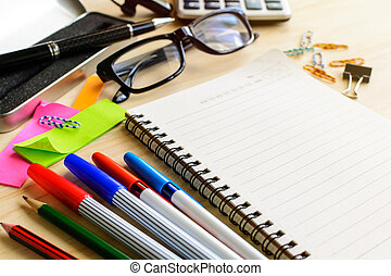 Blank notebook with office supply on desk, Workplace