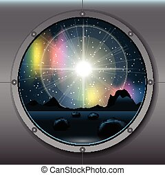 View from rocket or ship porthole on a planet in space over...