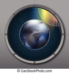 View from rocket or ship porthole on planet earth in space...