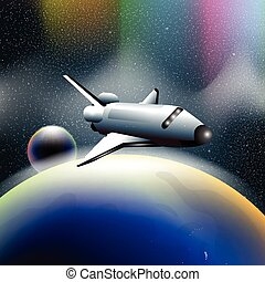 Shuttle in space flying from planet