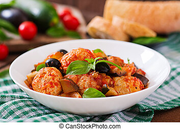 Juicy meatballs of turkey meat with vegetables zucchini,...
