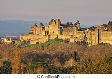 Castle of Carcassonne, France - Castle of Carcassonne in...