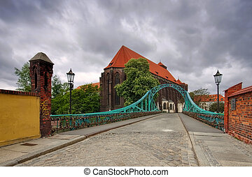 Breslau St. Maria Church and Tumski Bridge river Oder
