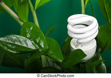 LED lamp with green leaf, ECO energy concept, close up. Light bulb on  background. Saving  and Ecological Environment. Copy space.