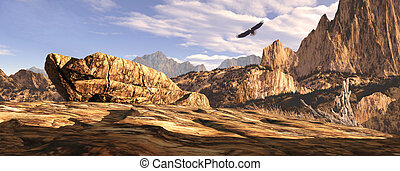 Soaring In The Southwest - Bald eagle soaring above a...