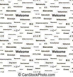 別, 句, 歓迎,  seamless, 言語, 黒, 白, パターン