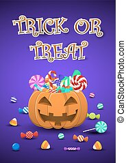 Halloween sweets and candies in pumpkin bucket with trick or...