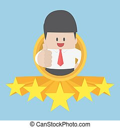 Businessman thumbs up with five star rating. best service...
