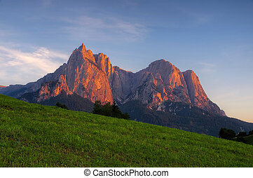 Schlern Alpine glow - mountain Schlern in Alto Adige,...