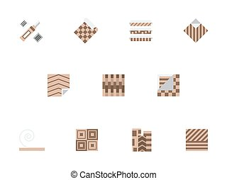 Linoleum brown flat style vector icons set - Floor material...