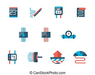 Floor heating technology flat vector icons set - Climatic...