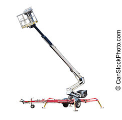 Wheeled articulated boom lift with telescoping boom and...