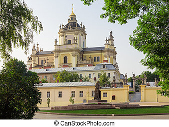 St. George Cathedral and monument Metropolitan Sheptytsky in...