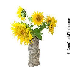 Bouquet of sunflower in a vase on a light background -...