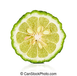 Half of Bergamot isolated on the white background.