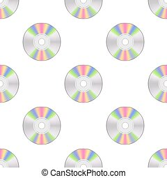 Colorful Compact Disc Seamless Pattern on White Background