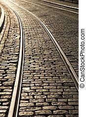 Tram tracks in Ghent, Belgium