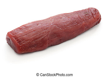 raw venison meat - raw venison leg meat isolated on white...