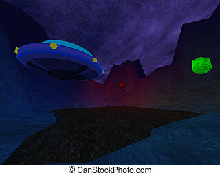 Dark crater with UFO in mountains background
