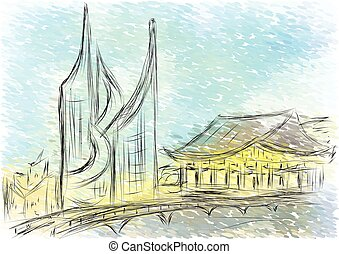 Seoul. abstract illustration of city on multicolor...