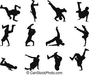break-dance, silueta, jogo